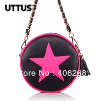 free shipping  UTTUS  2013 color block neon color pentastar Round small pu leather  ladies' shoulder bag sling bag