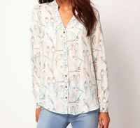 FASHION ANIMAL PRINTS V-NECK LONG SLEEVE SHIRT BLOUSE WF-3583