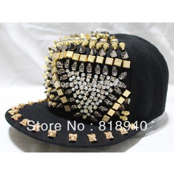 Skull Studs Cap Bling Faux Pearl Snapback Baseball Hat Spike Flat Peak