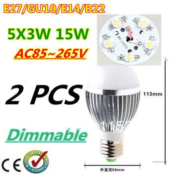 2pcs/lot Retail Dimmable Bubble Ball Bulb AC85-265V 15W E14 E27 B22 GU10 High power Globe light LED Light Free shipping