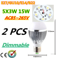 2pcs/lot Retail Dimmable Bubble Ball Bulb AC85-265V 15W E14 E27 B22 GU10 High power Globe light LED Light Free shipping