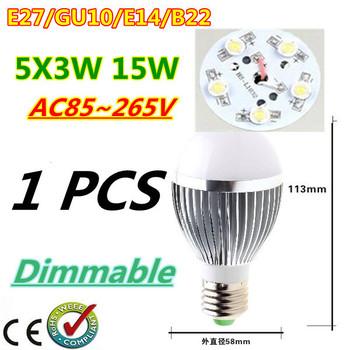 1pcs/lot Retail Dimmable Bubble Ball Bulb AC85-265V 15W E14 E27 B22 GU10 High power Globe light LED Light Free shipping