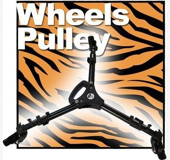 Professional 3 Wheels Pulley Universal Folding Camera Tripod Base Stand YT 900