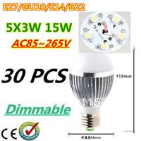 30pcs/lot Retail Dimmable Bubble Ball Bulb AC85-265V 15W E14 E27 B22 GU10 High power Globe light LED Light Free DHL and FEDEX