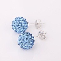 Disco Ball Bead earrings Shambhala jewelry blue Crystal chic shamballa earring charm