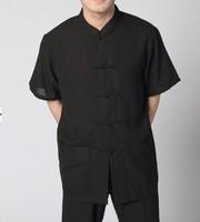 Black Chinese tradition Men's  Kung Fu shirt top Summer Linen  Short Seelves S M L XL XXL XXXL Free shipping