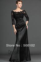Latest Fashion Black Bateau Lace Bodice 3/4 Sleeve Satin Floor Length Mother of the Bride Dresses