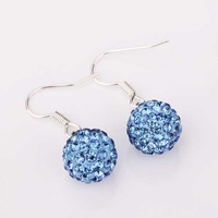 Shamballa earring Disco Ball Beads Earrings blue Crystal T-Paris Shambhala jewelry hot sale dropship quality