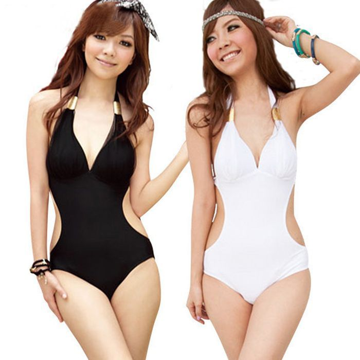New 2013 cheap one piece swimsuits swimwear women one piece sexy o swimsuit sexy cheap bikini, white Black(China (Mainland))