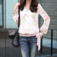 NEW WELL Printing translucent hem lace long-sleeved chiffon blouse 3546