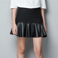 BEST SELLER  WOMENS PU ZIPPER SIDE MINI SKIRT WF-3588