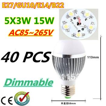 40pcs/lot Retail Dimmable Bubble Ball Bulb AC85-265V 15W E14 E27 B22 GU10 High power Globe light LED Light Free DHL and FEDEX