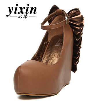 2012 women's sweet bow high-heeled shoes button wedges single shoes spring and autumn shoes
