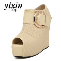 2013 spring open toe high-heeled shoes gold hasp elevator wedges single shoes women's shoes