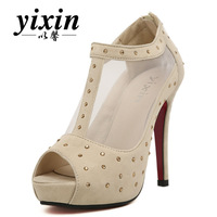 2013 women's spring shoes fashion rhinestone mesh open toe shoe high-heeled shoes thin heels sandals female