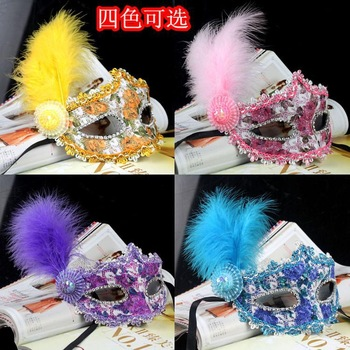 Free shipping 2014 exquisite lace rhinestone leather mask masquerade feather mask Party supplies  wholesale PW0115