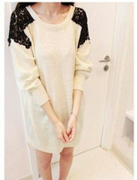 NEW WELL!Lace Shoulder OL Sweatshirt Loose Long Sleeve Round Neck Sweater 3717