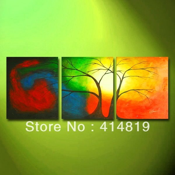 Free Shipping Paintings High Quality 100% Handmade Modern Abstract Art Landscape Tree Oil Painting on Canvas 3 Panel Art M968(China (Mainland))