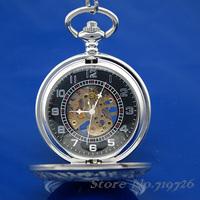 Free Shipping Vintage Steampunk Mechanical Hand-winding Skeleton Mens Boys Pocket Watch XL96 Black