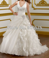 2013  V-neckline Custom-made Ivory Organza Backless Ball Gown Bridal Wedding Dress