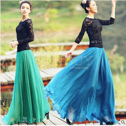 Free shiping 2013 spring and summer women high quality lace chiffon multicolor leisure long pleated double slit maxi skirts(China (Mainland))