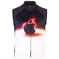 Free Shipping,New Arrivals Men's 3D Apple Black White Gothic Punk Casual Fleece Bodywarmer Gilet Vest,3 S-5XL,Plus Size