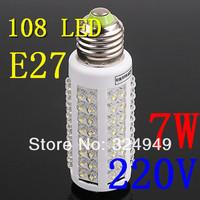 7W warm white/white led lighting AC 220-240V 108 LED E27 led bulb lamp Corn Light Bulb 100pcs/lot free shipping