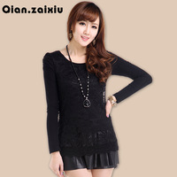 New arrival 2013 spring plus size lace one-piece dress chiffon skirt women's long-sleeve basic slim