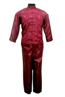 Burgundy Chinese tradition Men's Kung Fu Suit Sets shirt with Pants S M L XL XXL XXXL Free shipping