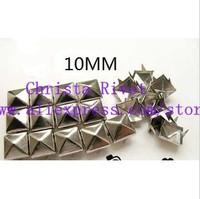 200pcs 10MM Silver Pyramid Studs Metal Claw Beads Nailhead Punk Stud Rivet Spike CellPhone Decoration Leathercraft
