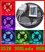 5M 3528 White/Warm/Blue/Red/Green/Yellow 300Leds Waterproof Strip light+12V 3A Power Supply Free shipping