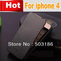Hot Original FASHION Luxury Genuine leather case for iPhone 4 4s ,Free Screen Protector