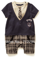 Baby boys' summer Angleterre preppy style jumpsuit plaid romper