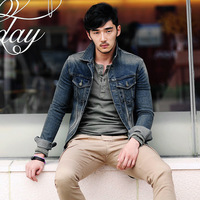 Graphite sand denim coat men's clothing casual jacket