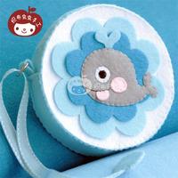 Handmade fabric material diy kit mdash . marine wind small whale coin purse storage bag