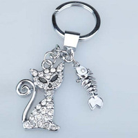 Diamond kitten fish bone keychain diamond key chain d414