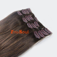"""ZS AAA+ Hot Sell:15""""-28"""" Indian Virgin Remy Clip Straight Human Hair Extension 75g-140g Dark Brown #4,Free Shipping"""