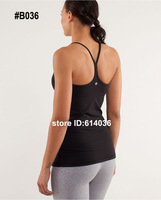 Lululemon Yoga Girl Black Cotton Vest Tops & Tees & Camis Tanks Wholesale Free Shipping by EMS Mix 15pc! Drop Shipping Available