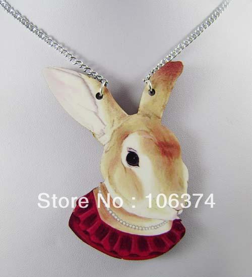 Free Shipping! Fashion Hip Hop Animal Good Wood Necklace,Hip Hop Rabbit Pendant Metal Chain(China (Mainland))