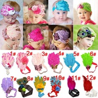 12 designs ! 10 pieces / lot CPAM free shipping feather baby headband / fashion girl hair band for 3 -- 18 months