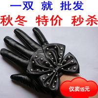 Lady gaga rivet large bow women's fashion leather gloves