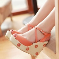 Ladies shoes Summer new arrival 2013 sandals sweet open toe shoe flower wedges platform brief women's platform  platform   shoes
