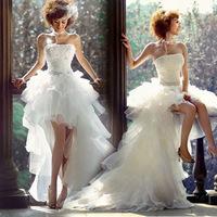New Fashion High Low Bride Dress White Formal Dress Royal Princess High quality Organza Wedding Dresses