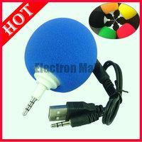 5PCS/LOT & FREE SHIPPING!! 3.5mm Audio Mini Sponge Balloon Ball Music Speaker for iPhone iPod MP3/MP4/Laptop/PC w/ Gift Box