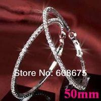 Wedding Silver polish Paparazzi Basketball Wives Hoop Earrings Crystal Rhinestone Hoop Earrings gift Free Shipping 50MM