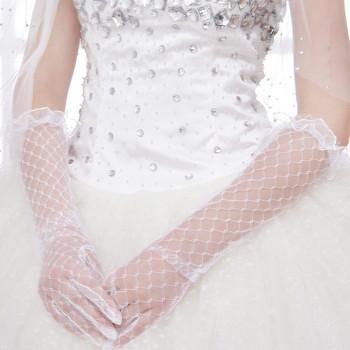 Summer sunscreen UV protection / full finger long yarn gloves of good fabric lace / yarn / wedding / bridal long gloves