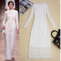 Free shipping Fashion spring and summer 2013 women's cutout embroidered lace long-sleeve dress mopping the floor dress full