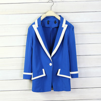 2013 women's candy color all-match one button slim three quarter sleeve blazer d5 blazer -Free Shipping