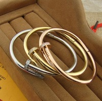 High Quality Nail With Diamond Gold Plated 316L Stainless Steel Bangle