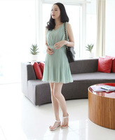 Maternity dress, pregnant women tank dresses, knee-length with cute bow for autumn/spring wear clothing, free shipping